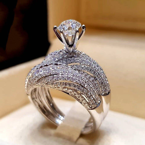Valentine's Day Elegant Wedding Engagement Rings 2 PCS Silver Color Anniversary Accessories With Full Shiny Cubiz Zircon Stone - thefashionique