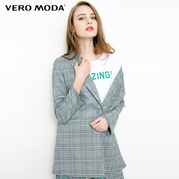 Vero Moda Plaid Pattern 2019 New Two-way Sleeves Casual Suit Jacket Long Plaid Blazer - thefashionique