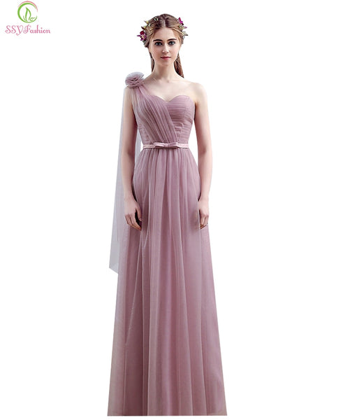 Vestido SSYFashion One Shoulder Floor-length Long Bridesmaid Dresses Birde Simple Formal Party Gown Custom Homecoming Dresses - thefashionique