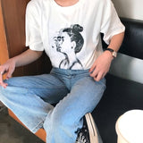 Vintage Character Printed Casual Loose Basic 2-18 Fashion Street Fresh Short Sleeve Female O-neck Top Tee - thefashionique