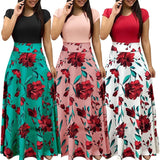 Vintage Floral Print Patchwork Long Dress Women 2019 Casual Short Sleeve Party Dress Elegant O Neck Ladies Maxi Dress Sundress - thefashionique