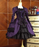 Vintage Gothic Lolita Palace Woman Multilayer Flouncing Short Dresses Audrey Hepburn Steampunk Wine Red Deep Purple Green Dress