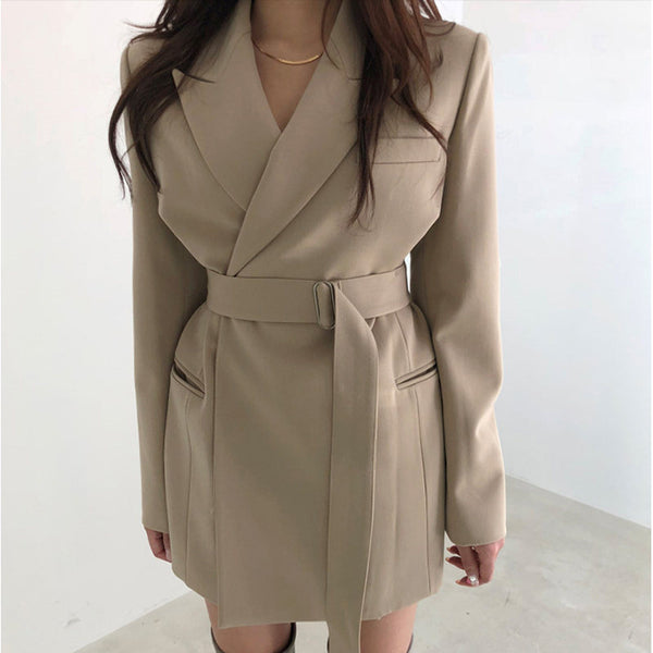 Vintage Lace Up Women Jacket Turn-down Collar Khaki Women Blazer