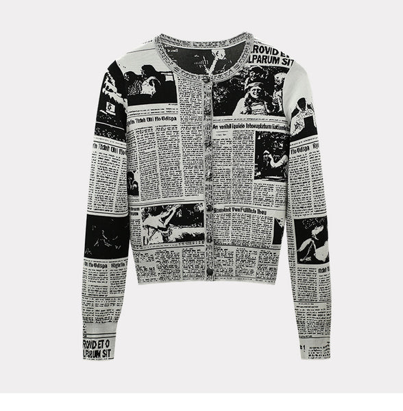 Vintage Letter Prints Newspaper Knitted Cardigans Sweater Rond Neck Long sleeve Tops For Women 2018 New Fashion Clothing - thefashionique