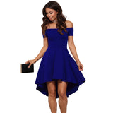 Vintage Midi Dresses 2018 Summer Women Burgundy Blue Princess Dresses Off The Shoulder Short Sleeves Knee-length A-Line Dre - thefashionique