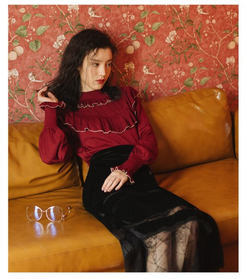 Vintage Mori Girl Style Women Sets Ruffles Knitted Tops & Black Velvet Lace Skirt Sweet Lantern Sleeve High Street Lady Clothing - thefashionique