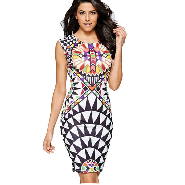 Vintage Multicolor Print Dress Women Summer Sleeveless Sexy Slim Bodycon Party Dresses Ladies Round Neck Formal Pencil Dress #Z - thefashionique