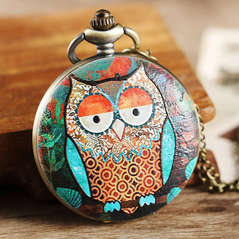 Vintage Owl Painted Pattern Pocket Watch Women Men Gifts Steampunk Bronze Pocket Watch Women Elegant Necklace Pendant FOB Chain - thefashionique
