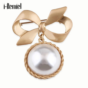 Vintage Pearl Bow Brooches for Women Suit Coat Pin Women's Scarf Buckle Classic Bowknot Simple Girls Jewelry Bag Hat Accessories
