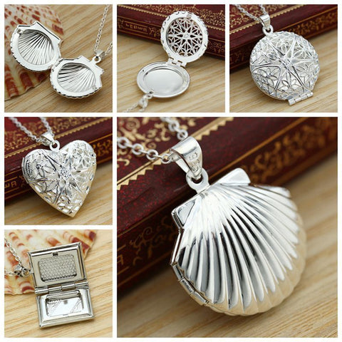 Vintage Photo Locket Pendant Necklace Shellhard Trendy Hollow Heart Shaped Necklaces & Pendants Fashion Jewelry Accessories - thefashionique