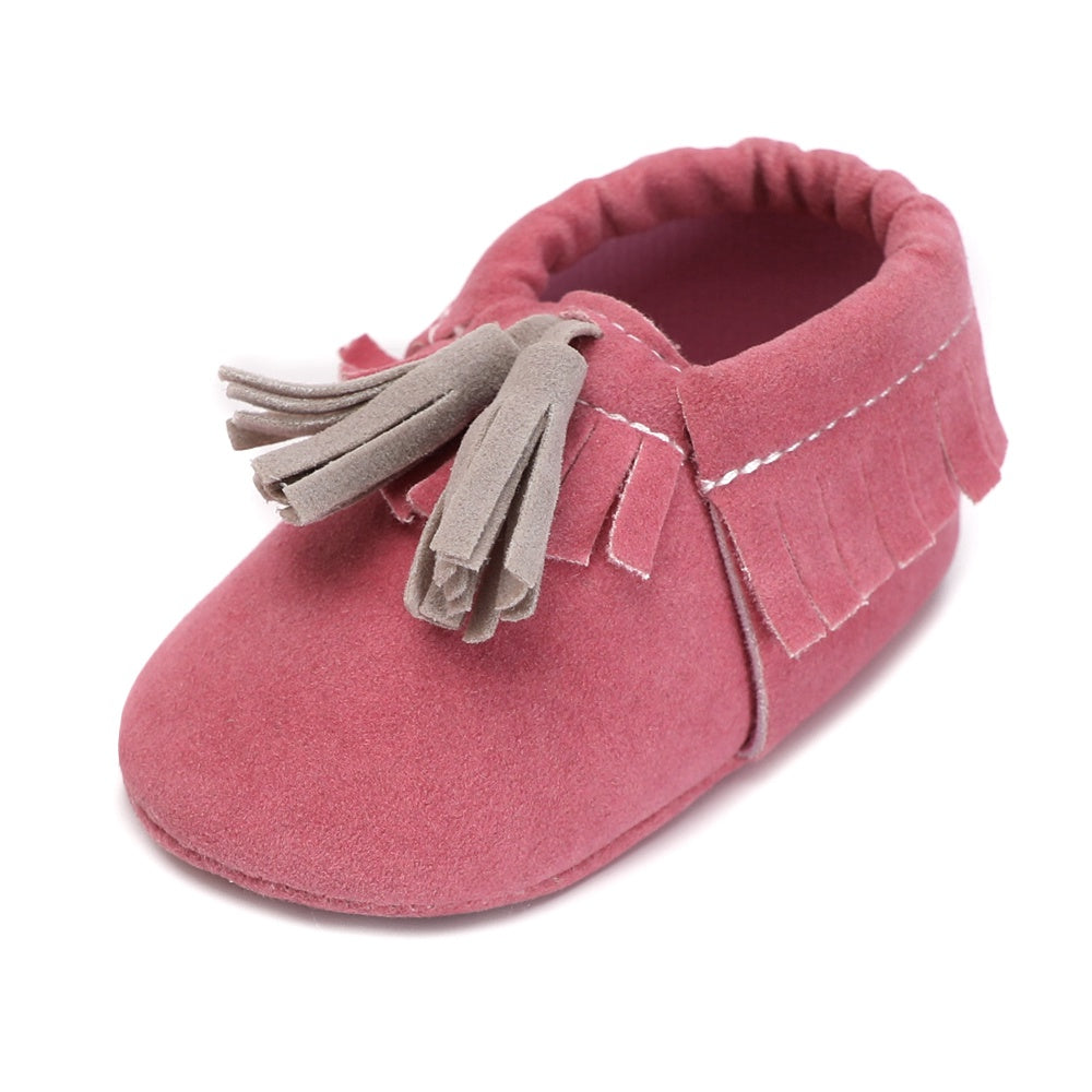 Vintage Rubber Bottom Baby Moccasins Pu Suede Leather Infant First Walkers Gift Newborn Hard Sole Baby Shoes for 0-18M - thefashionique