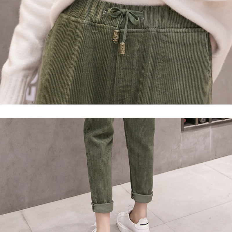 Vintage Women Corduroy Pencil Pants Lace Up Elastic Waist Pockets Casual Trousers Female Pant Warm Pantalones Mujer 2018 Winter - thefashionique