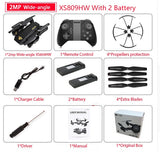 Visuo XS809W XS809HW Quadcopter Mini Foldable Selfie Drone with Wifi FPV 0.3MP/2MP Camera Altitude Hold RC Dron Vs JJRC H47 E58 - thefashionique