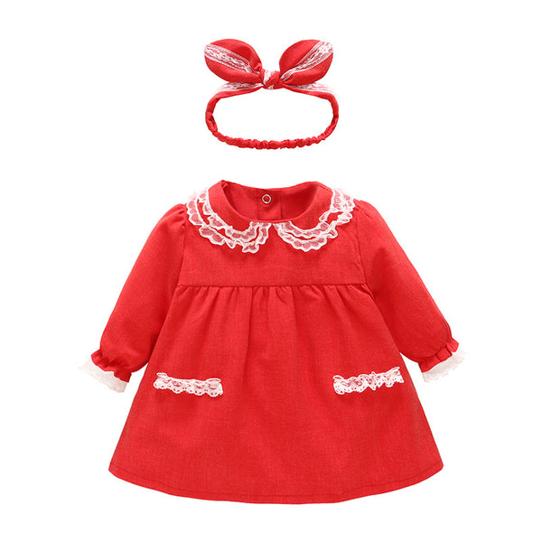 Vlinder 2018 Baby Girls dress Spring Autumn Cute Dress Snug Christmas Birthday Dresses Newborn Long Sleeves Infant Dresses - thefashionique