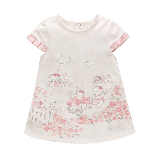 Vlinder 2018 New Fashion Baby Girls Summer Cute Dresses cartoon pattern flower printing Newborn Short Sleeves Infant Dresses - thefashionique