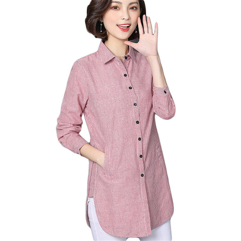 890f6ebb24e6a9 VogorSean Women Striped Blouse Shirts Spring Autumn For Lady Work Long  Sleeve Tops Female Fashion Clothing