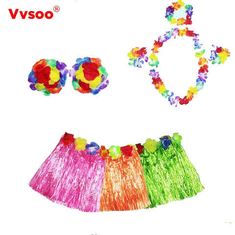 Vvsoo 5PCS/set Plastic Fibers Women Grass Skirts Hula Skirt Hawaiian costumes 60CM Ladies Dress Up Festive & Party Supplies