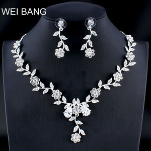 WEIBANG Married Silver Jewelry Set Girlfriend Necklace Long Earrings for Women African Wedding Accessories dropshipping - thefashionique