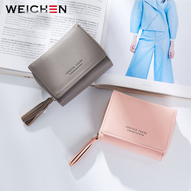 WEICHEN Tassel Pendant Design Small Clutch Wallets For Women, Coin Purses Card Holders Invoice Pocket PU Leather Female Lady Bag - thefashionique