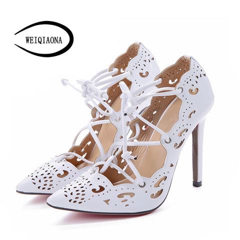 WEIQIAONA Women Pumps 2017 Brand Sexy High Heels Wedding Party Woman Shoes  Gold and White Heels a8b1e7a682c0