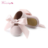 WEIXINBUY Baby Girl Shoes Riband Bow Lace Up PU Leather Princess Baby Shoes First Walkers Newborn Moccasins For Girls - thefashionique