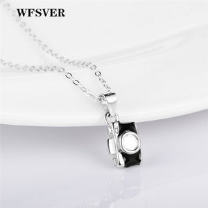 WFSVER 925 Sterling Silver Camera Shape Pendant Necklace For Women Geometric element Pendant Necklace Fine Jewelry Present - thefashionique
