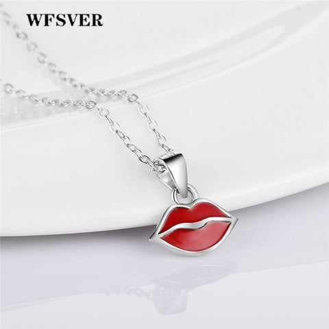 WFSVER 925 Sterling Silver Red Lips Shape Pendant Necklace For Women Geometric Element Pendant Necklace Fine Jewelry Gift - thefashionique