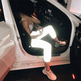WHZHM 100% Polyester Hign Waist Woman Pants Summer/Spring Hip Hop Hipster Sports Elastic Reflective Long Luminous Cloth Pants - thefashionique