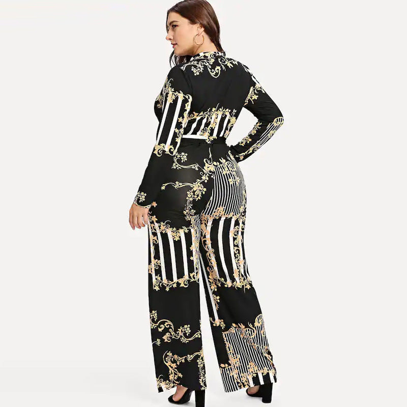 WHZHM Party Plus Size 3XL Bodysuit Women Full Sleeve Playsuit Jumper Bodycon Jumpsuit Printed Sashes Beach Femme Clothing - thefashionique