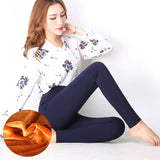 WKOUD 2018 Winter Trousers Women High Waist Solid Thicken Pencil Pants High Stretch Fleece Warm Full Length Pants Leggings P8611 - thefashionique