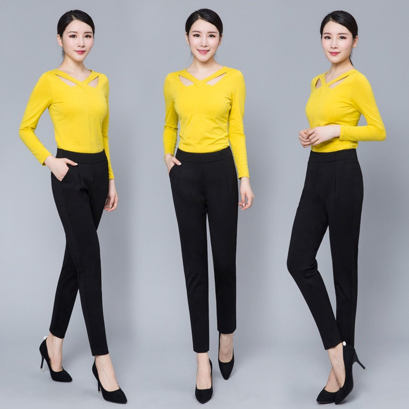 WKOUD High Waist Harem Pants For Women Black Trousers Winter Warm Loose Pants Elastic Waist Thickening Cargo Plus Size P8546 - thefashionique