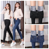 WKOUD Plus Size Women's Jeans Skinny Pencil Pants 2018 Winter Warm Jeans Korean Solid Thicken Denim Trousers Black Pants P8626 - thefashionique