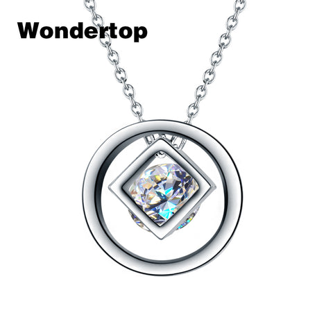 WONDERTOP Original Sterling 925 Silver Circle and Cube Pendant & Necklace with  Cubic Zircon for Women Fashion Trendy Jewelry