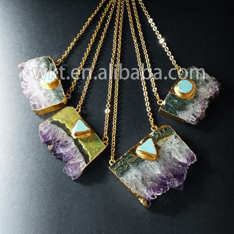 WT-N411 Wholesale slice raw crystal with howlite element pendant necklace, fashion uraguay crystal necklace - thefashionique