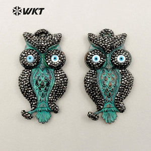 WT-NP322 WKT Wholesale New Arrival Fashion Antique Style Jewelry Owl Shape Elegant Rhinestone Pave Necklace Pendant - thefashionique