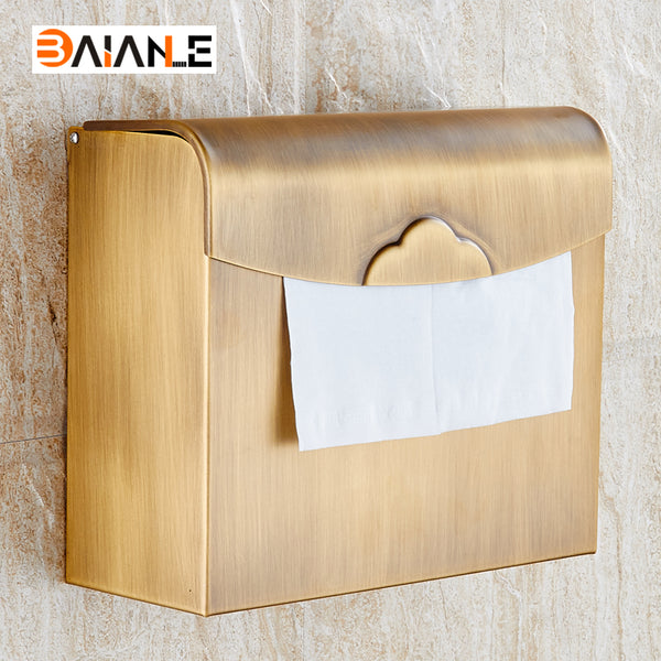 Wall Mounted Paper Holder Antique Brass  Paper Box Holders waterproof Bathroom Accessories Sanitary wares - thefashionique