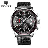 Watch Men BENYAR New Top Luxury Brand Business Date Men's Watches Mesh Stainless Steel Quartz Chronograph Clock zegarek meski - thefashionique