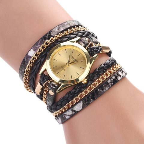 Watches PU Leather Mix Chain Multilayer Strap Leopard Band Bracelet Quartz Braided Winding Wrap wristwatch Fashon 2018
