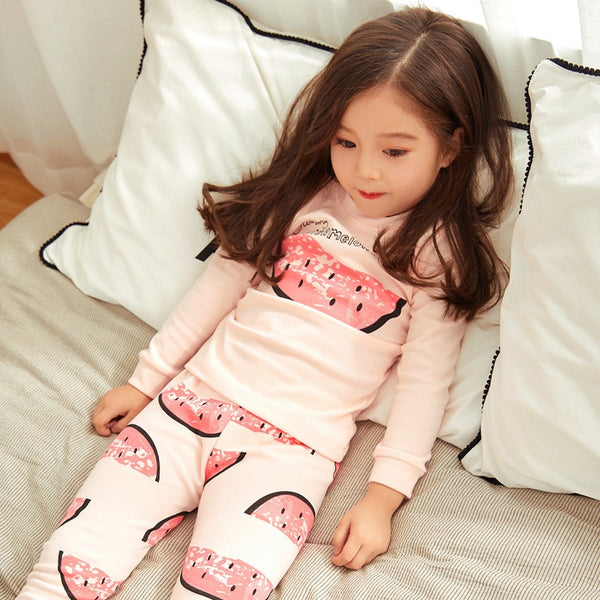 Watermelon Nightwear Pyjamas Warm for Baby Sleepwear Girl Autumn Children's Pajamas Sets Kids Fall Clothes Sets 2 4 5 7 911Years - thefashionique