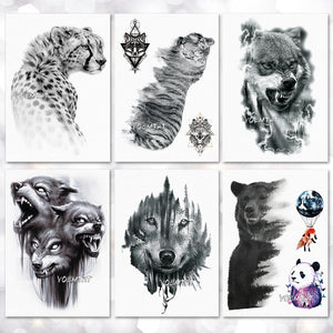 Waterproof Temporary Tattoo Sticker wolf tiger pattern tattoo Water Transfer body art fake tattoo for women men - thefashionique