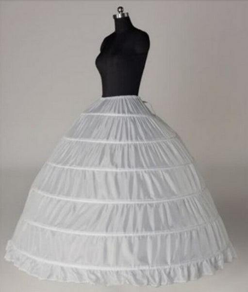 Wedding Accessories Petticoat Vestido Longo Ball Gown Crinoline Underskirt 6 Hoops Skirt Petticoats In Stock - thefashionique