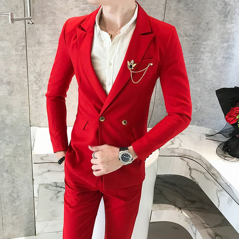 Wedding Dress 2018 Blue Double Breasted Suits Mens White Suits with Pants Red Dj Nightclub Singer Suits Party Terno Slim Fit New