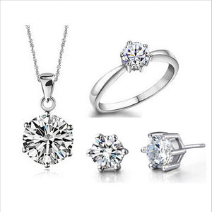 Wedding Fine Jewelry Sets Real Pure Silver Plated 6 Claw Cubic Zircon CZ Pendant Necklaces Earring Rings Engagement Set - thefashionique