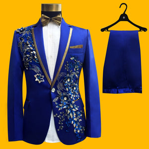 Wedding Groom Tuxedos Suit Men Fashion Blue Paillette Embroidered Male Singer Performance Party Prom Blazer Suit Costume 4 Piece - thefashionique