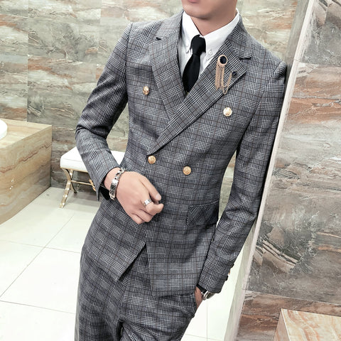 Wedding Mens Suits Designers 2018 Plaid Suits Men Groom Formal 3 Piece Smoking Homme Mariage Fashion Suits for Mens Grey Tuxedos
