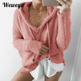 Weweya Plus Size 3XL Women Hoodies Loose Outerwear Drawstring Hooded Sweatshirt Female Mohair Pullovers Sweatshirt for Women - thefashionique
