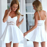 White Black Vestidos 2018 Summer Fashion Women Sexy Strap V Neck Crochet Lace Waist Skater Dress Casual Party Mini Short Dresses - thefashionique