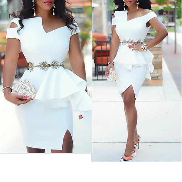 White Bodycon Party Dress Ruffles Peplum Bare Shoulder Split Event Occation Stylish Dresses Robes Large Size Ladies Celebrate