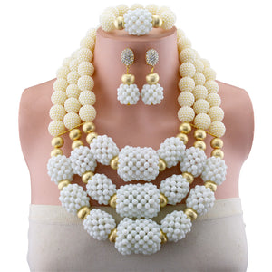 White Copper Bead African Beads Jewelry Sets 2018 Bridal Jewelry Sets & More Nigerian Wedding Beads African Necklace For Women - thefashionique
