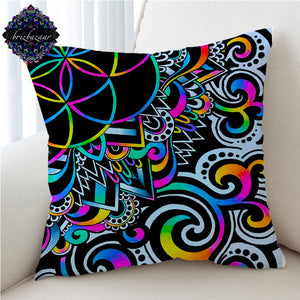 White Doodle Magic by Brizbazaar Cushion Cover Mandala Pillow Case Colorful Decorative Throw Pillow Cover Psychedelic Home Decor
